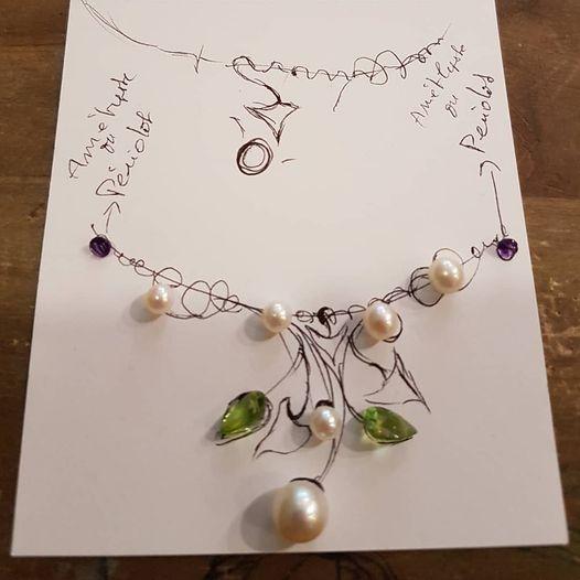 Croquis pour un nouveau collier en or jaune perles…